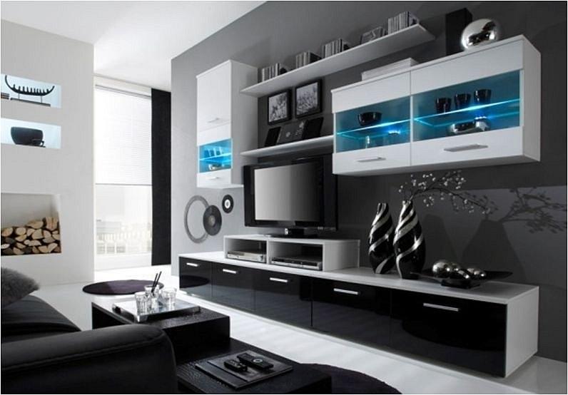 moderne hochglanz wohnwand beta mit led beleuchtung. Black Bedroom Furniture Sets. Home Design Ideas
