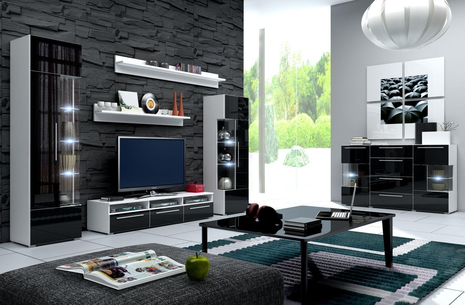 Hochglanz wohnwand roma italienisches design mit led for Kuchenstuhle italienisches design