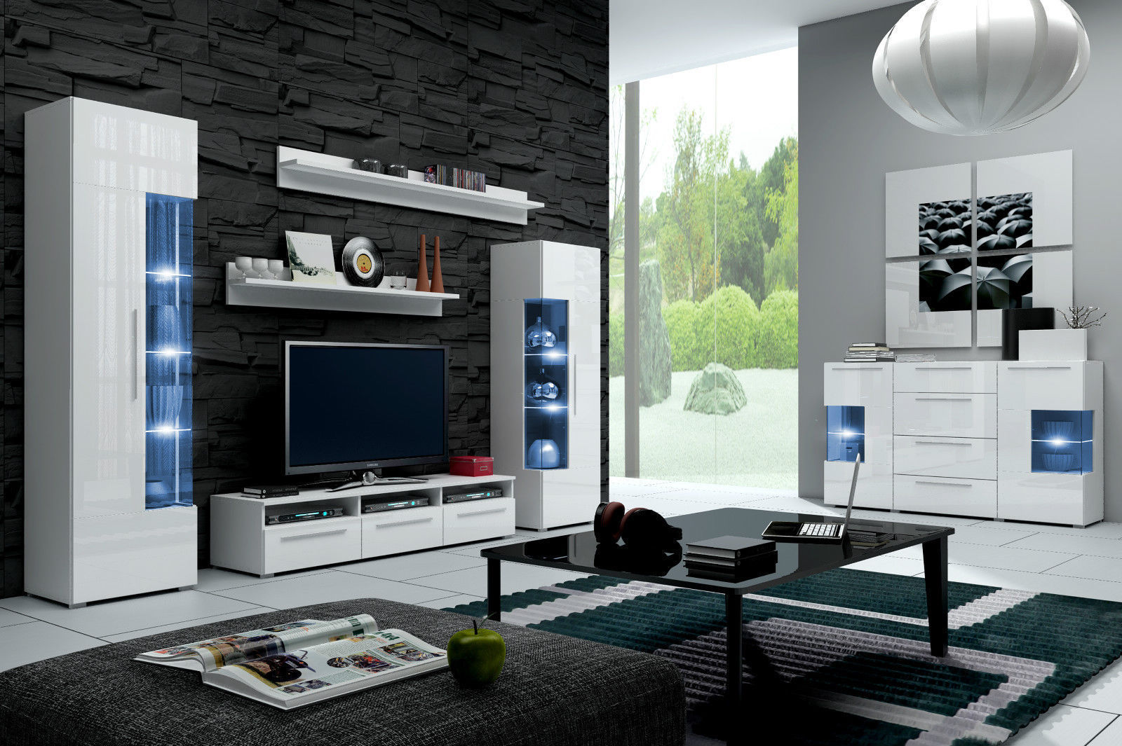 hochglanz wohnwand roma italienisches design mit led. Black Bedroom Furniture Sets. Home Design Ideas