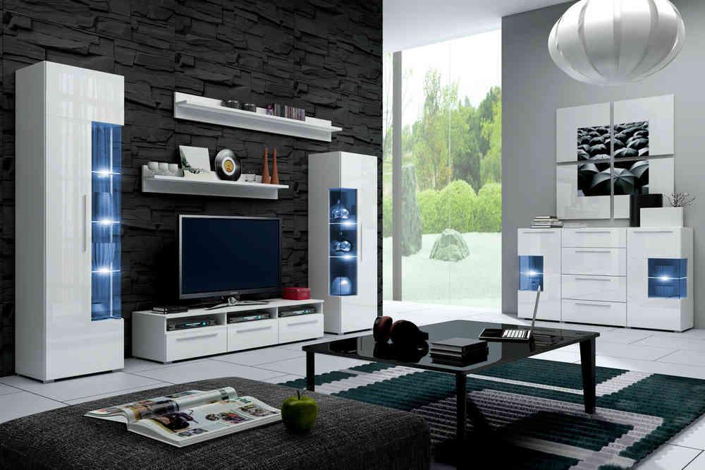 wohnwand roma italienisches design mit led - Moderne Eingerichtete Wohnzimmer
