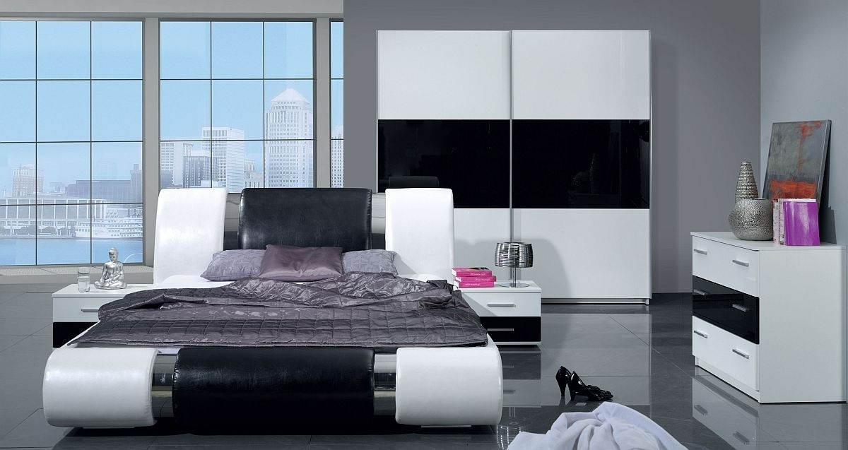 schlafzimmer modern schwarz wei neuesten. Black Bedroom Furniture Sets. Home Design Ideas