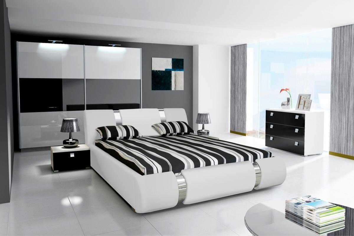 Komplett Schlafzimmer NOVALIS II Hochglanz schwarz / weiß