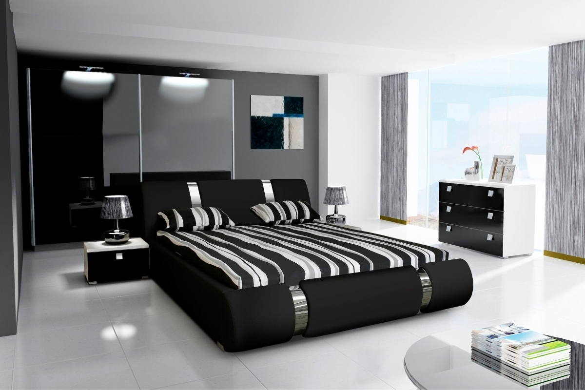 komplett schlafzimmer novalis ii hochglanz schwarz wei. Black Bedroom Furniture Sets. Home Design Ideas