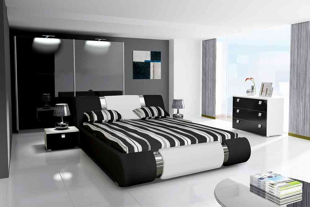 Komplett Schlafzimmer NOVALIS II Hochglanz schwarz / weiß - Lukas ...