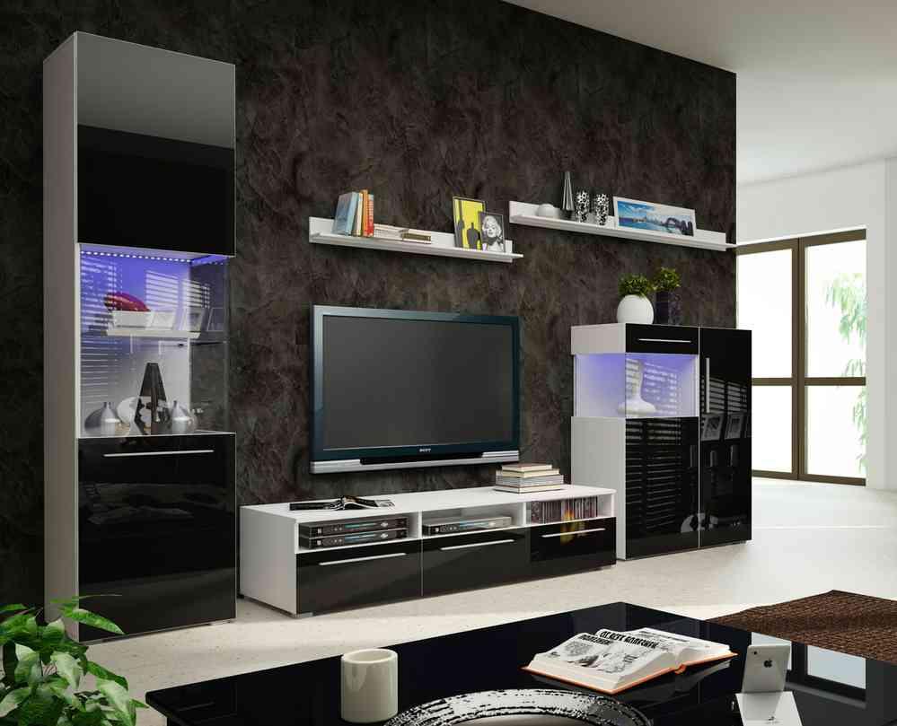 Designer wohnwand weiß hochglanz  Designer Wohnwand Nicea II Hochglanz weiss oder schwarz mit LED