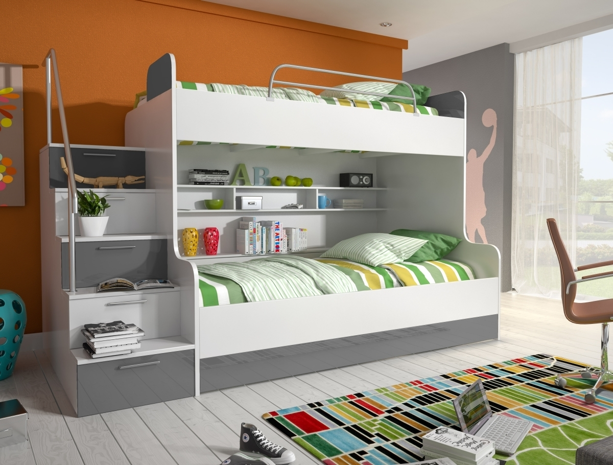 hochglanz etagenbett alex in drei farben. Black Bedroom Furniture Sets. Home Design Ideas