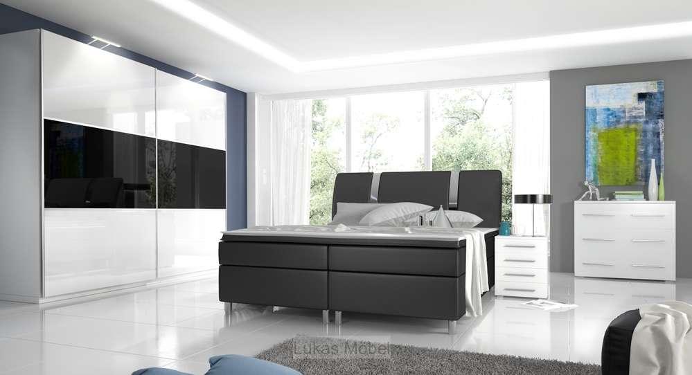 Nice Schlafzimmer Boxspringbett Komplett #7: Komplett Schlafzimmer Hochglanz RivaBox II