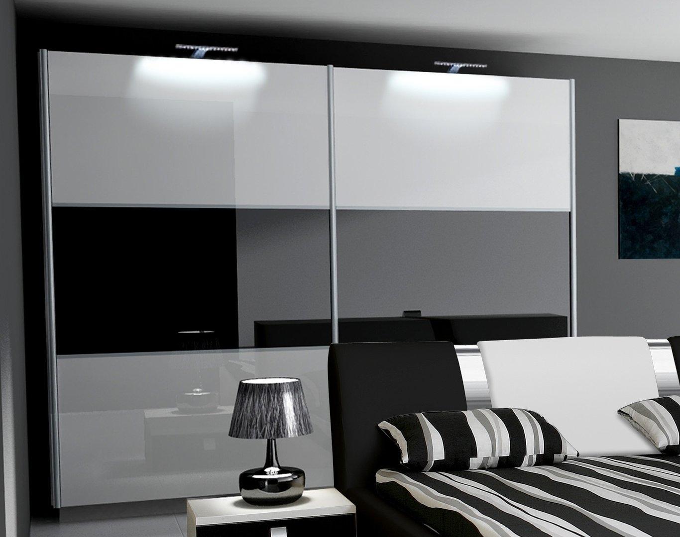 Kleiderschrank weiß schwarz hochglanz  Schlafzimmer Hochglanz RivaBox II
