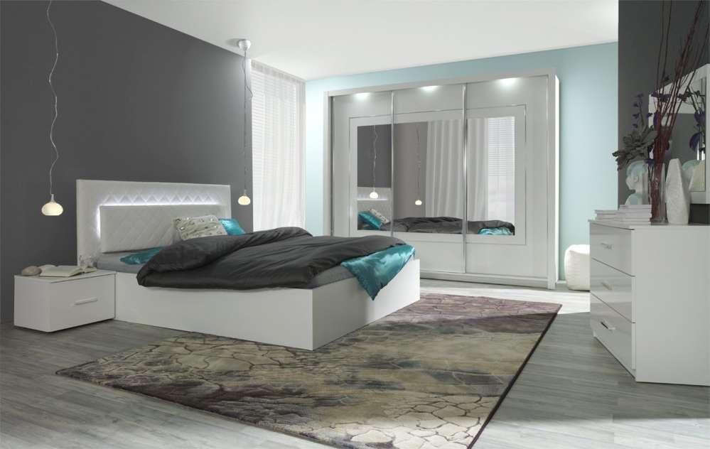 Designer Schlafzimmer Panarea Hochglanz weiß