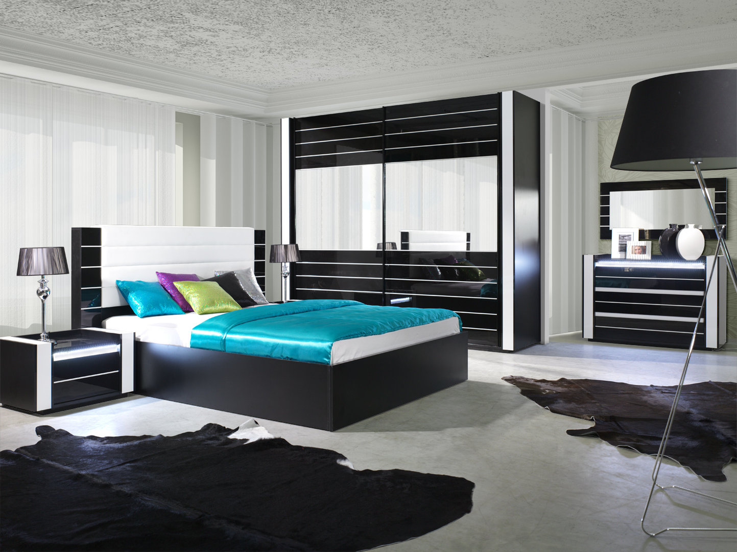 hochglanz schlafzimmer komplett linn schwarz. Black Bedroom Furniture Sets. Home Design Ideas