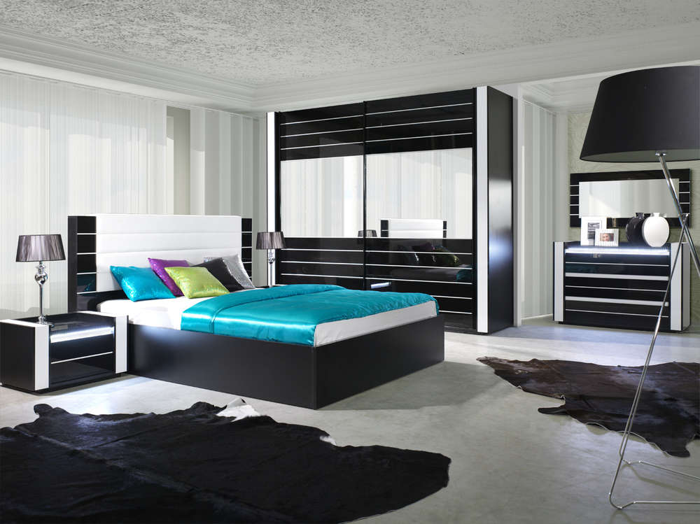 Hochglanz Schlafzimmer komplett LINN Schwarz