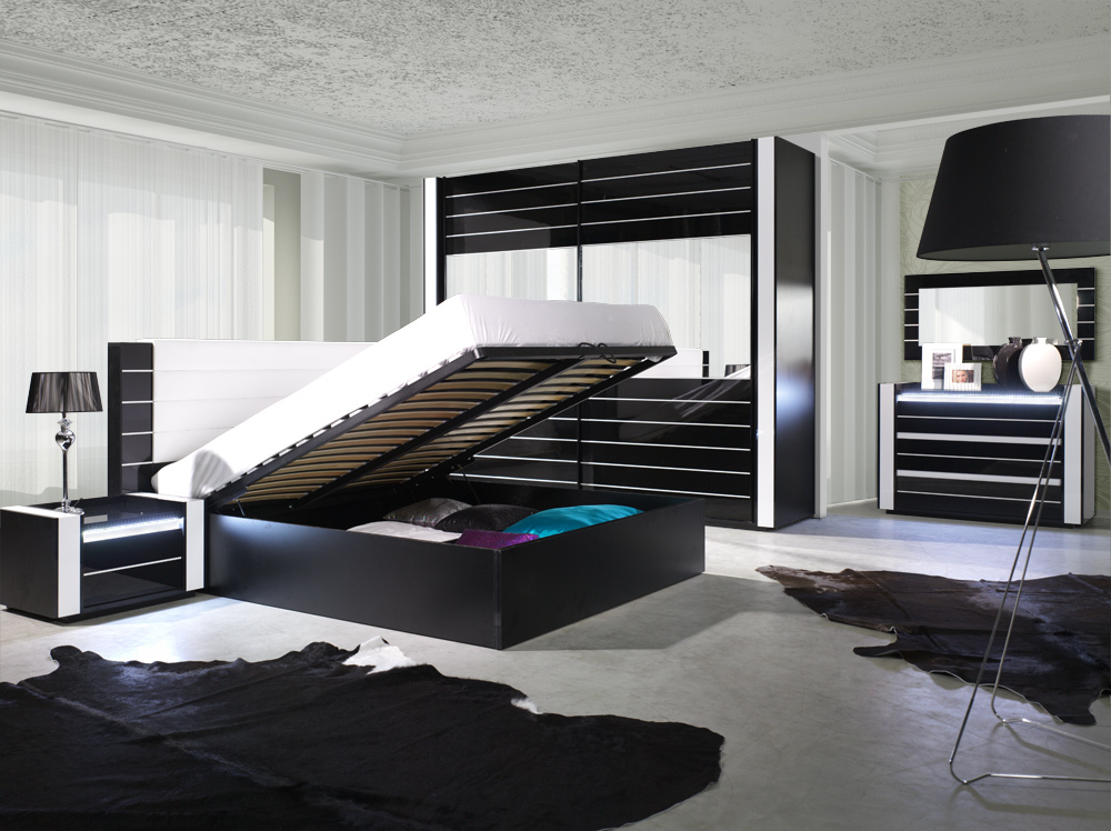 hochglanz schlafzimmer komplett linn schwarz. Black Bedroom Furniture Sets. Home Design Ideas
