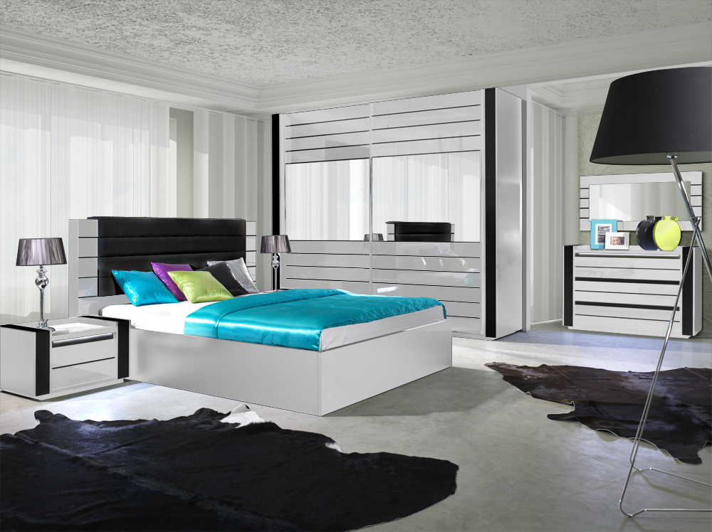hochglanz schlafzimmer komplett linn wei. Black Bedroom Furniture Sets. Home Design Ideas