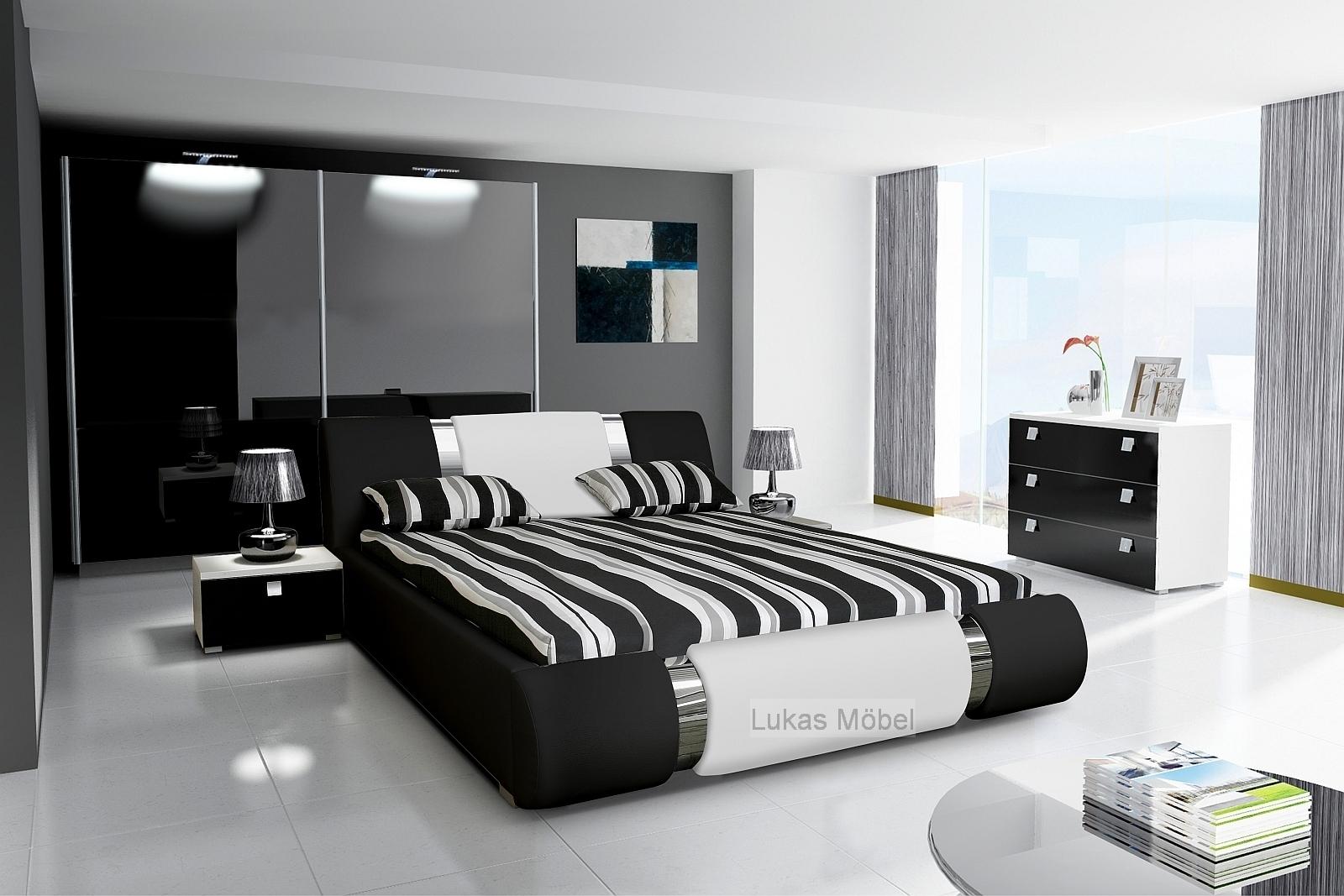 Komplett Schlafzimmer NOVALIS Hochglanz schwarz / weiß