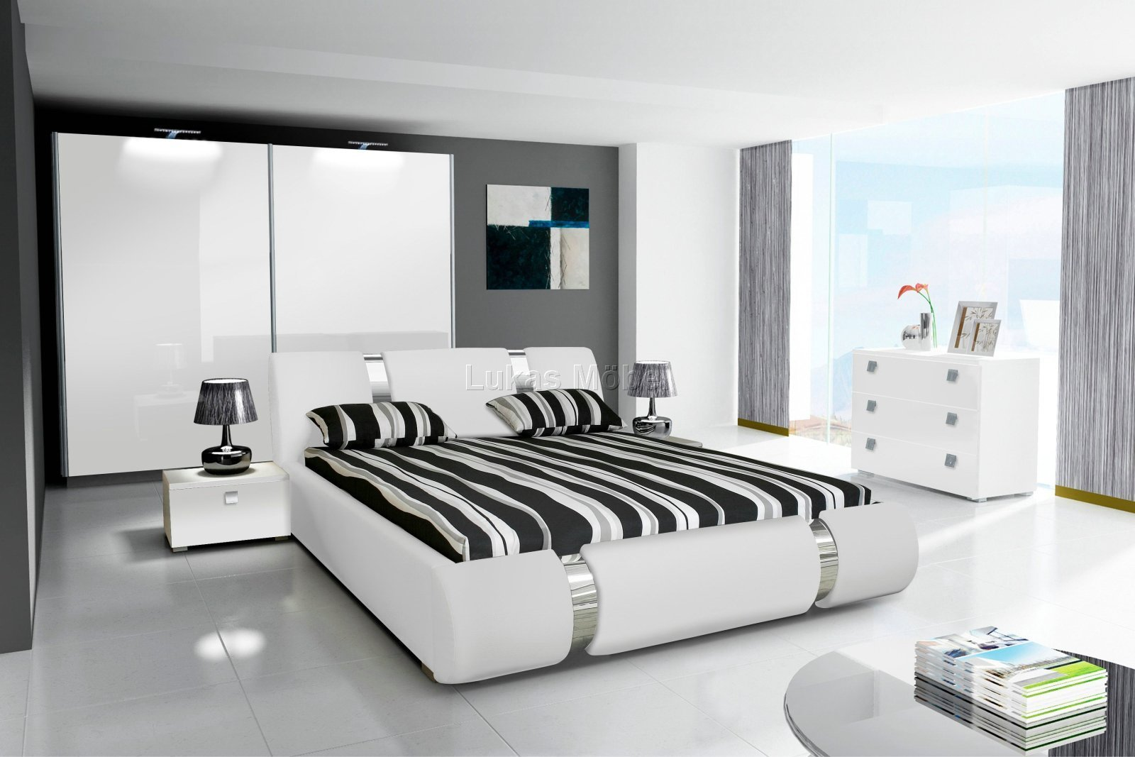 komplett schlafzimmer novalis hochglanz schwarz wei. Black Bedroom Furniture Sets. Home Design Ideas