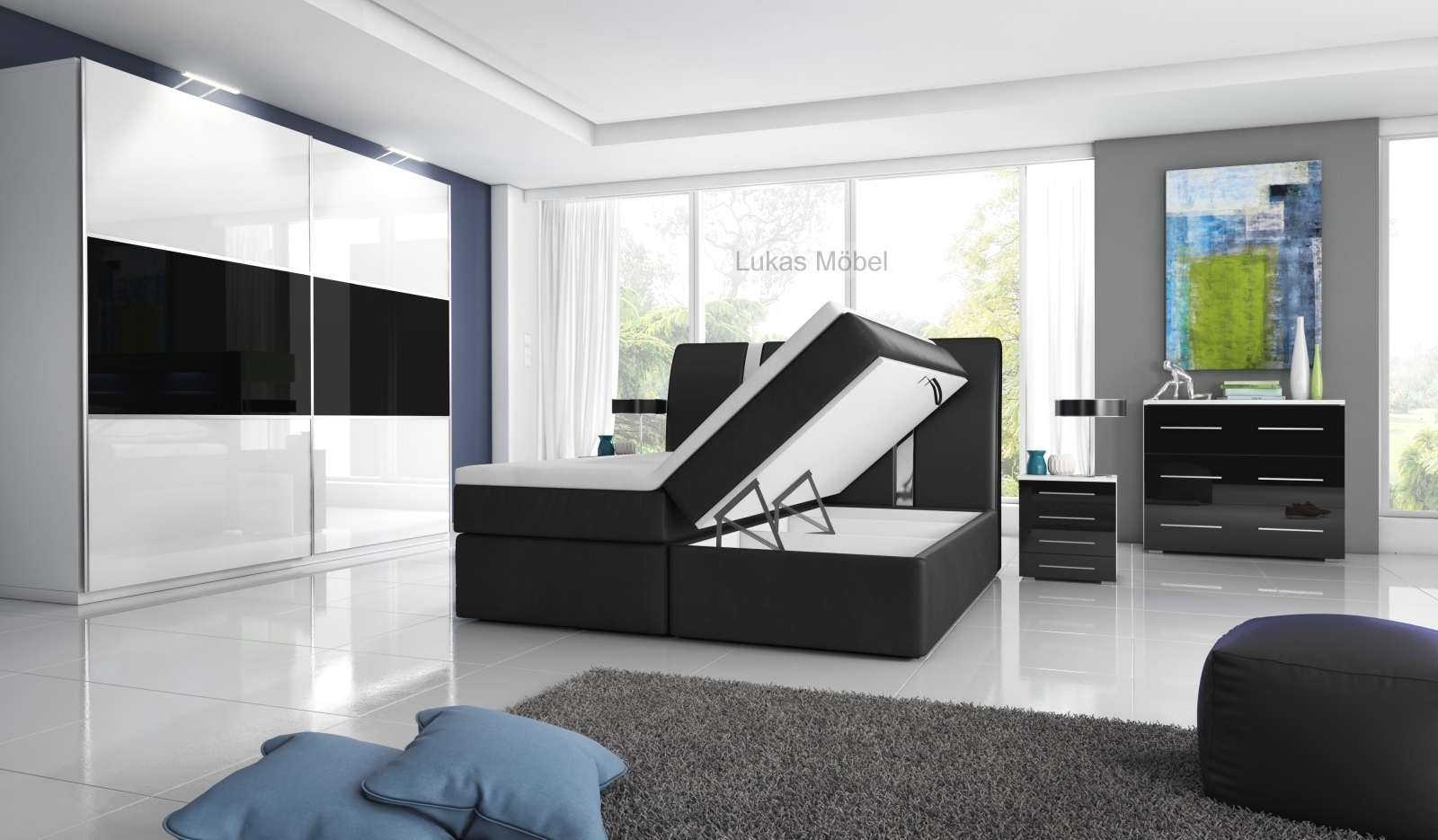 hochglanz schlafzimmer rivabox ii. Black Bedroom Furniture Sets. Home Design Ideas