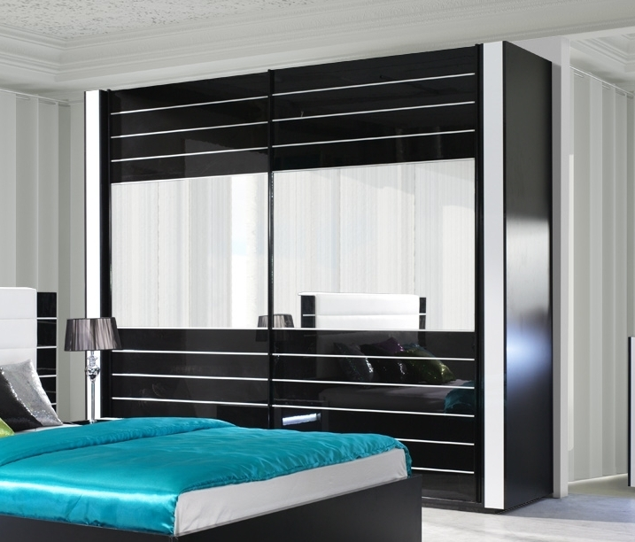 kleiderschrank linn in hochglanz schwarz. Black Bedroom Furniture Sets. Home Design Ideas