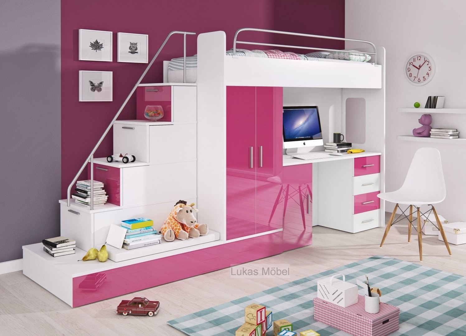 hochglanz etagenbett hochbett felix. Black Bedroom Furniture Sets. Home Design Ideas