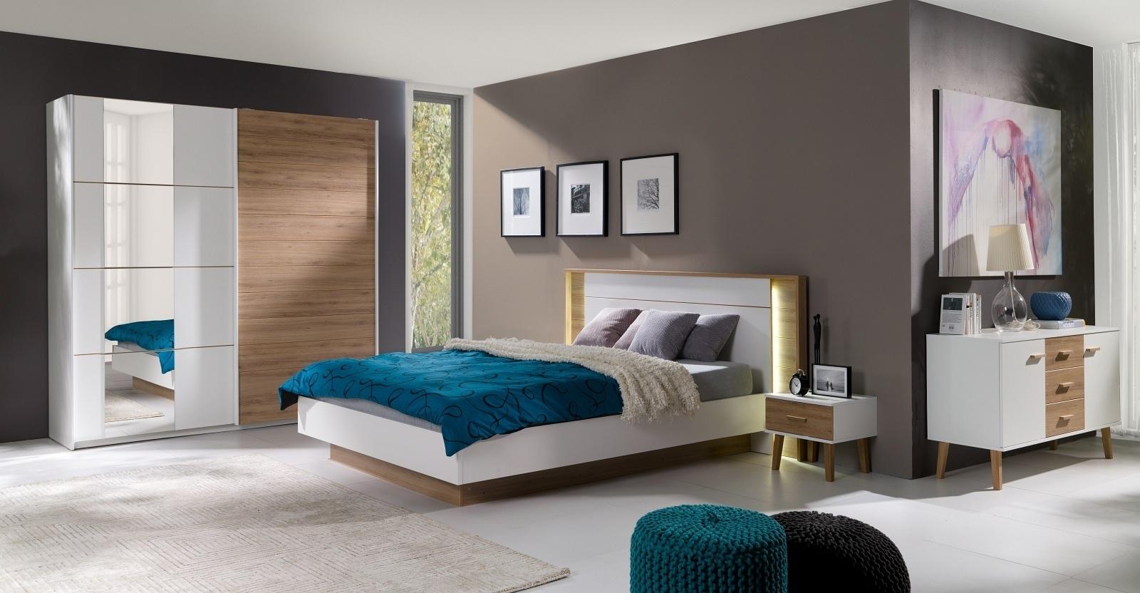 schlafzimmer komplett aurora wei wildeiche mit led. Black Bedroom Furniture Sets. Home Design Ideas