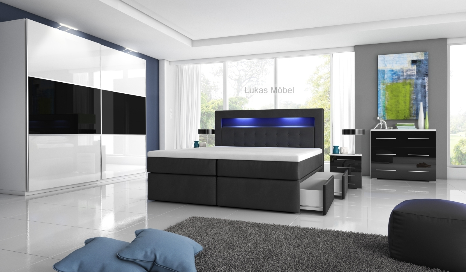 boxspringbett milano mit led und bettkasten. Black Bedroom Furniture Sets. Home Design Ideas