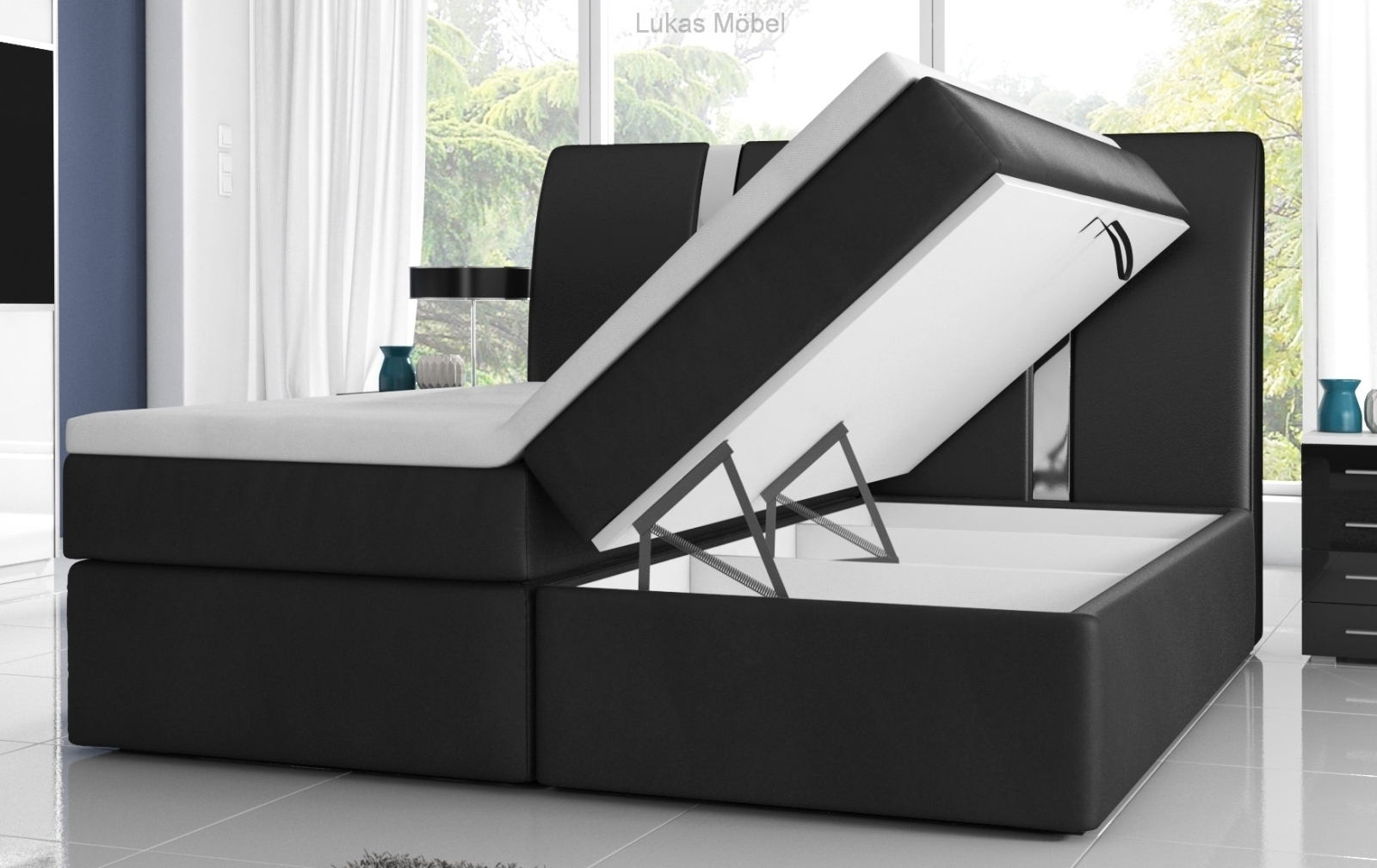 boxspringbett rivabox mit bettkasten. Black Bedroom Furniture Sets. Home Design Ideas