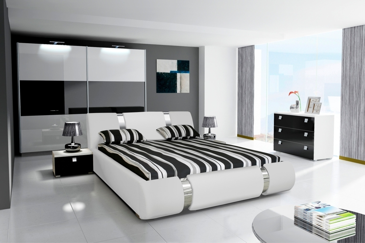Beliebt Komplett Schlafzimmer NOVALIS II Hochglanz schwarz / weiß ZU95