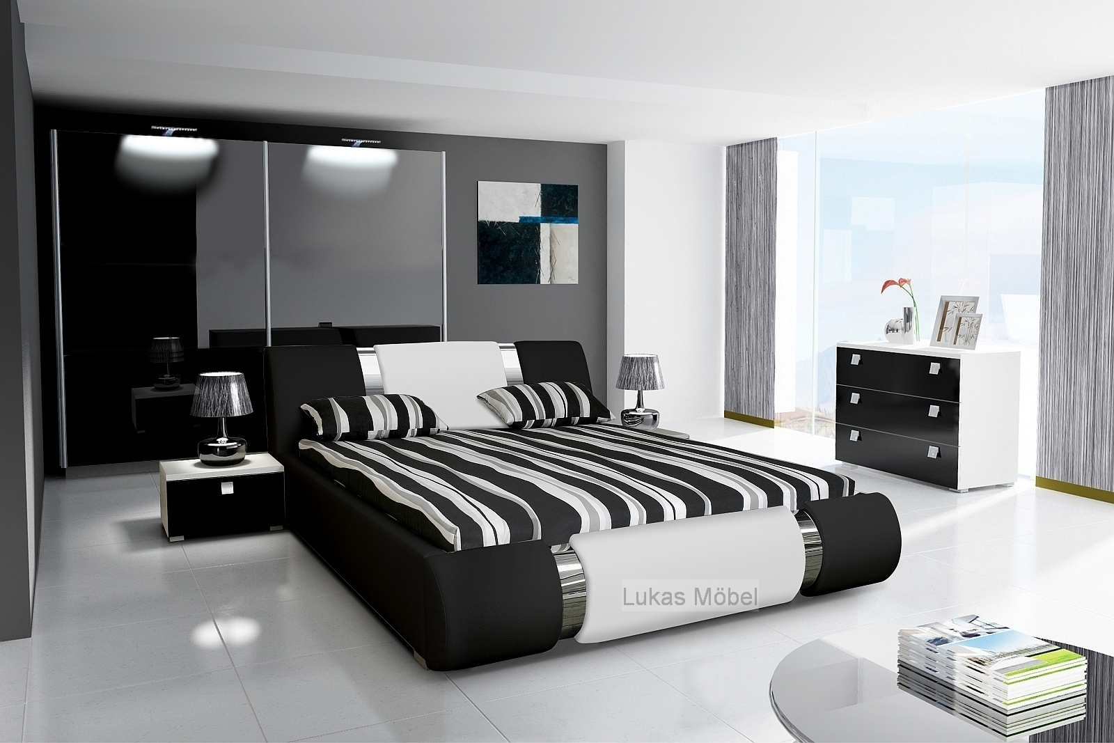 Extrem Komplett Schlafzimmer NOVALIS Hochglanz schwarz / weiß ZY85